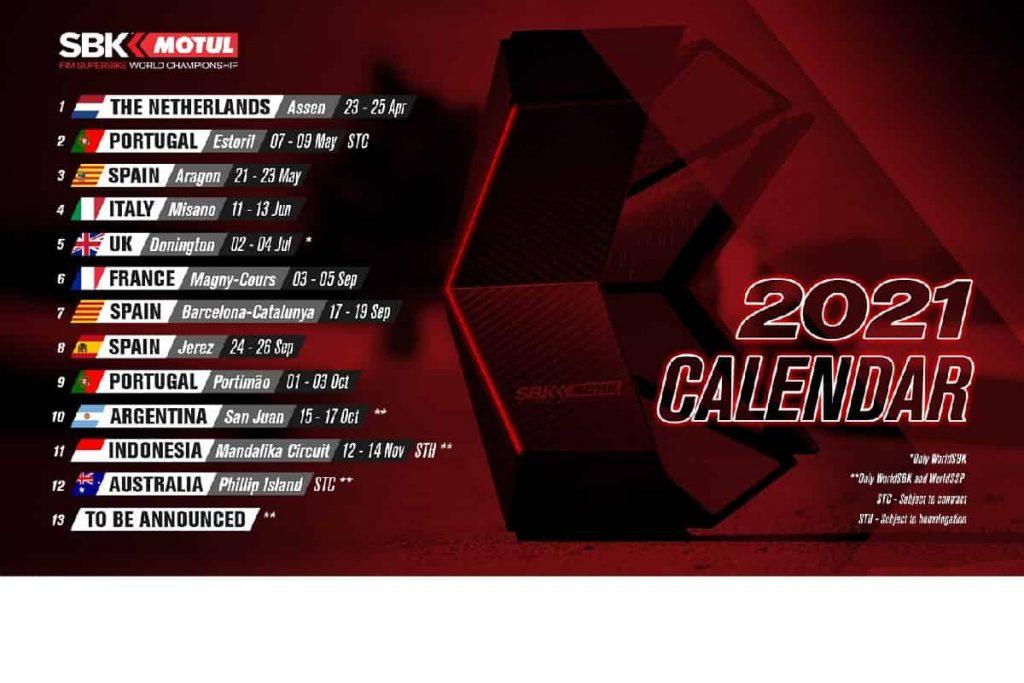 WorldSBK 2021 calendario provvisorio